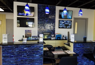 Gallery office with blue lights
